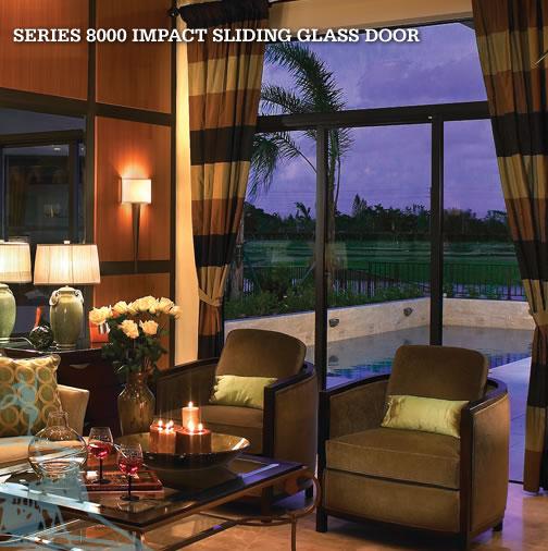 8000 Aluminum Impact Sliding Glass Door Hurricane Impact Window