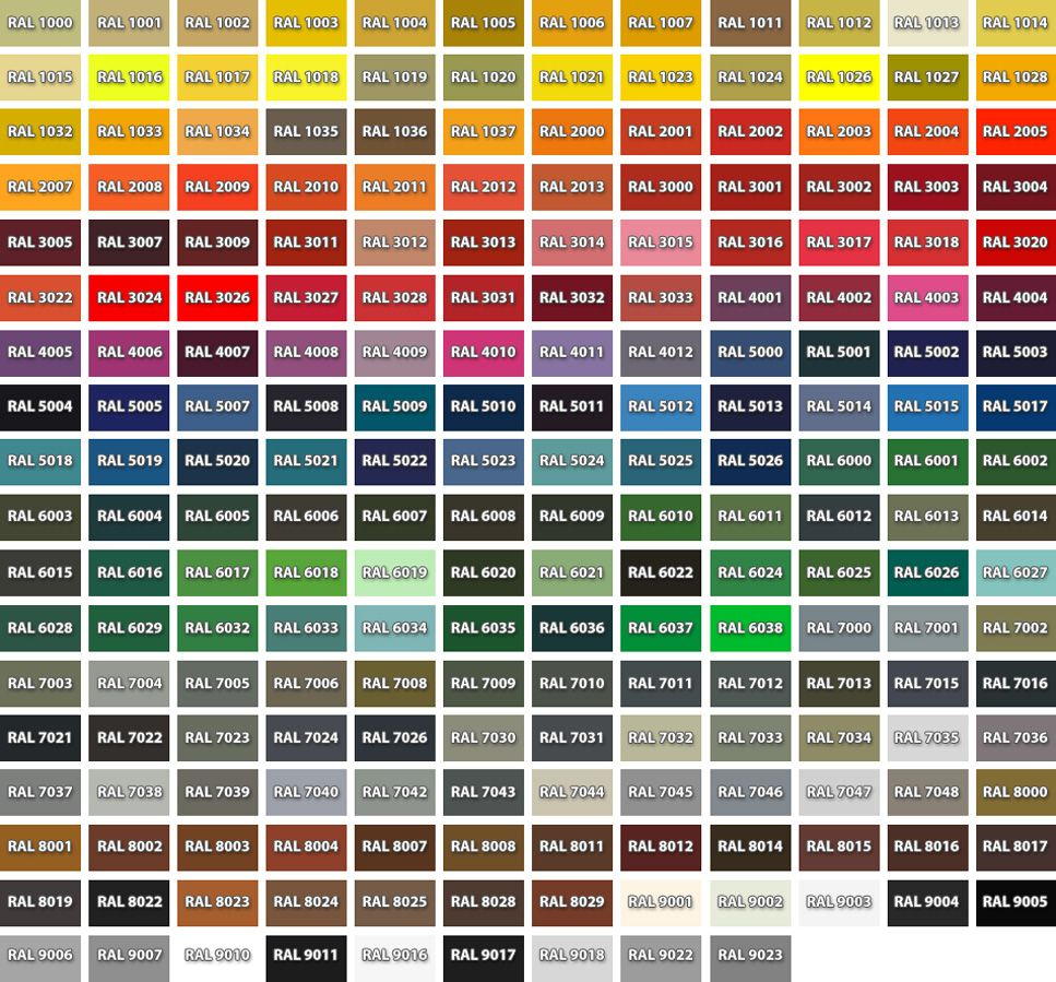 Hurricane ShuttersColor Chart – Sample General Color Chart